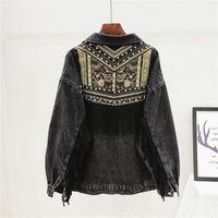 Women's Jackets Denim Jacket Korean Floral Embroidery Suede Fringe Loose Chaquetas Mujer Coat Long Sleeve Outerwear Women Veste Femme
