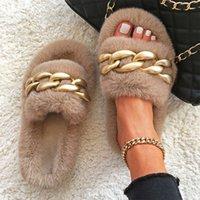 Women Plunge Fur Slides Pluche Hot Shoes Matte Gold Chain Design Slippers Home Luxury Slip-On Thick Bottom