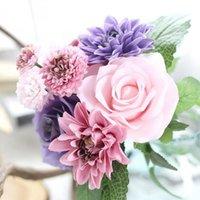 الخريف حيز الحرير الطازج روز داهلياس الزهور الاصطناعية اللمس الحقيقي الزهور، ديكورات المنزل الزفاف الزفاف أو عيد ميلاد الزخرفية