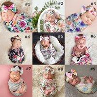 Newborn Baby Swaddle Blanket Headband 2 pcs Suit Sleeping Bag Flower Elk Print Wrap INS Toddler Cartoon Dinosaur Sleep Sacks Photography Prop