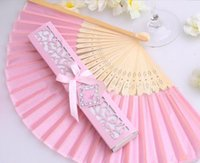 Personalized Luxurious Silk Fold hand favor gfit Fan in Elegant Laser-Cut Gift Box +Party Favors/wedding Gifts 100 pcs #362