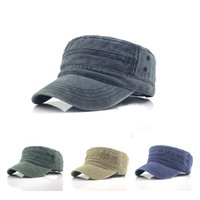 1PC 단색 남성용 군대 모자 군사 조절 가능한 평면 모자 고전 스타일의 자외선 차단제 태양 모자 캐주얼 모자