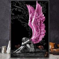 Piangere ragazza con ala figura dipinto fai da te da numeri arte della parete immagine acrilico per la decorazione domestica Drop 60x75cm dipinti