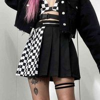 Sucute Gothic High Waist Women Pleated Mini Skirt Patchwork Ribbons A 라인 스커트 스트리트웨어 솔리드 여성 파티 복장