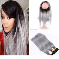 Sliver Grey Human Hair Bundles With 360 Lace Frontal Closure 4pcs lot Silk Straight Two Tone 1b Gray Ombre Hair Wefts