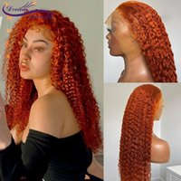Lace Wigs 13x4 Front Wig Ginger Orange Color Human Hair Deep Wave For Women Brazilian Remy