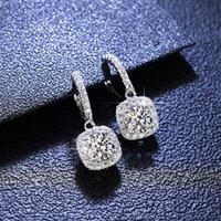 New Dangle & Chandelier 2021 Luxury Jewelry 925 Sterling Silver T Shape White Topaz CZ Daimond Women Wedding Gemstones Earring Hook For Lovers' Gift