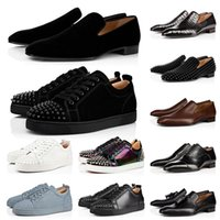 Red Bottoms Mocasines Formal Business Brogue Shoes Red Bottom Hombres Black Brown Suede Patent Patent Rivets Glitter Luxurys Designers Flat Mens Bottoms Casual Sneakers Fashion