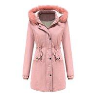 Kış Ceket Kadınlar Pembe Artı Boyutu Gevşek Ayrılabilir Kürk Yaka Kapşonlu Parkas Moda Kadife En Sıcaklık Ceketler Ekleyin Feminina LR1007