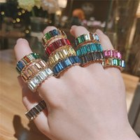 Cluster Rings Thin Baguette Rainbow CZ Gold Ring For Women Girl Fashion Colorful Cubic Zirconia Engagement Wedding Band Top Charm Jewelry