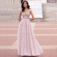 Sheer Plunging V Neckline Modest Prom Dresses with Beaded Sleeveless Long Floor Tulle Evening Gowns A Line Bride Dress