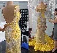 2019 Yousef Aljasmi Evening Dresses V Neck Backless 3D Floral Appliqued Beaded Mermaid Prom Dress Sweep Train Custom Made Formal