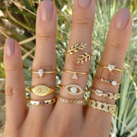 11pcs set Wholesale Bohemian Chain Leaf Evil Eye Triangle Rainbow Color Crystal Knuckle Finger Ring for Women