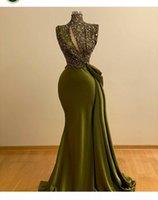 Hunter Green Crystal Perlen Mermaid Prom Kleider Vintage High Hals Abendkleid Saudi-arabische lange formale Partykleid