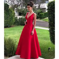 Long Satin Prom Dresses Vestido De Noiva Sereia Evening Gowns Red Satin