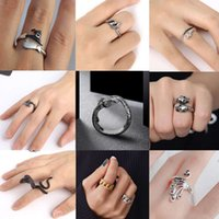 Exaggerated Retro Punk Snake Ring for Men Women Antique Siver Color Opening Adjustable Rings Stainless Steel Jewelry