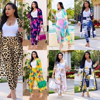 Women's Tracksuits Women Print Long Sleeve Cardigan Pants Summer Two Piece Set 2 Suits Loose Sexy