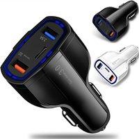 3 في 1 نوع C المزدوج منافذ USB QC3.0 7A شحن سريع شاحن سيارة محول آيفون 7 8 11 × XR سامسونج HTC الروبوت الهاتف