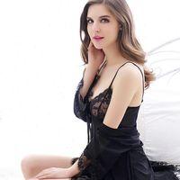 Black Sexy Lingerie Robe Womens Sleepwears Gown Set Lace Nightgown Temptation Bathrobe See Through Sleepwear Nighties Mini Night Dress