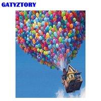 Pinturas Gatyztory DIY imagem de óleo por números presente artesanal para adultos balão de ar no céu cenário pintura pintura na arte de lona