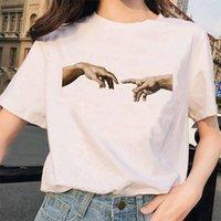 Michelangelo T Shirt Hands Women Aesthetic Graphic Tshirt Female Aestheticgrunge Vintage Ulzzang 90s Femme Harajuku T-shirt Women's