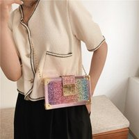 Evening Bags 2021 Summer Shoulder Bag Female Fashion Creative Personality Gradient Color Sequins Ladies Chain Messenger Mobile Phone