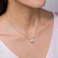 Креативная мода форма сердца многоцветный натуральный abalone оболочка кулон ожерелье для женских золотых металлов влюбленные хокеры ожерелья
