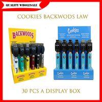 Original Cookies Backwoods Law Twist Preheat VV Battery 900mAh Bottom Voltage Adjustable Usb Charger Vape Pen 30Pcs with Display Box