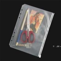 Simples A5 / A6 / A7 Transparente PVC Saco Impermeável Plástico STORE FILL FILL FILL FOLDER NOTEPADS Documento de bolso 6 furos Escola material EWC7150