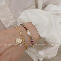 Link, Chain Retro Geometric Double Bracelet Color Beaded Flower Girlish