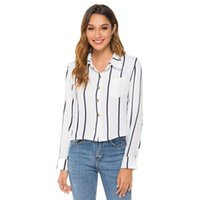 Women's Blouses & Shirts 2021 Autumn Women Blouse Striped Long Sleeves Tops Office Lady Clothes Pocket Turndown Collar Ing Sales