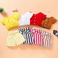 Abbigliamento per bambini Ragazza Bambini 2 pezzi Set di camicia 100% cotone o-collo + Stripped Short Summer Child Bambino due pezzi set vestiti