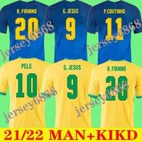 2022 Футбол Джерси Камисем де-Футбол Пэкет Neres Coutinho Футбольная футболка Фирдино Иисус Марсело 2021