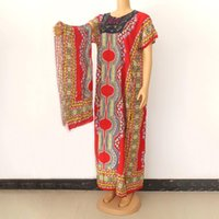 High Quality Women Maxi Dresses With Scarf Dashiki Pattern Print Breathable African Femme Robe Fashion Plus Size Clothing Ethnic