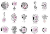 20st PANDORA 925 Sterling Silver Armband Rosa Emalj Magnolia Crystal Dangle Pärlor Charms För Europeisk Snake Charm Chain Fashion DIY Smycken Kvinnor