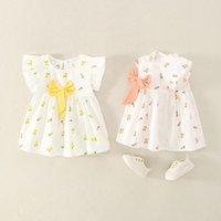 Vestidos de niña Flores de verano Niñas para niños Sundress Luz de Sundress para bebés Princesa Vestidos con Ropa de Niños Arco Nacidos