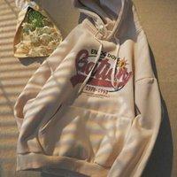 Women's Hoodies & Sweatshirts Printed jacket with women's hoodie, baggy hoodie plus velvet Korean college style, trend for student