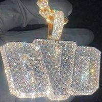 Nouvelle mode plaqué or plié en pierre de diamant en pierre de pierre de la pierre personnalisée Nom personnalisé Collier pendentif avec 3mm 2mm 24inch chaîne de corde Nice Bijoux cadeau