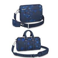 الرجال رسول حقيبة عالية الجودة الأزرق الحبر المائية الثلاثي الحبوب الجلود enball حقائب الرجعية crossbody حقائب السفر الأزياء حقيبة