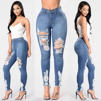Women's Jeans Skinny Woman Sexy Torn Hole Women Clothing Denim Pants Female Pencil Blue