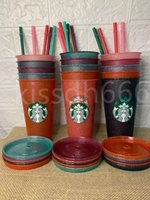 24oz Starbucks glitter mug Plastic Drinking Tumblers colorful cups with lid and straw Candy colors Reusable cold drinks cup flash Coffee beer mugs