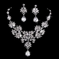 6 colors women Bling Crystal Bridal Jewelry Set silver diamond Earrings for bride Bridesmaids Accessories lx0299