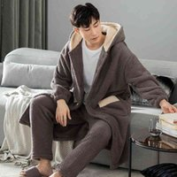 Winter Hooded Sleepwear Men Thicken Flannel 2pcs Pajamas Suit Simple Solid Color Pyjamas Loose Warm Homewear Plus Size L-3xl