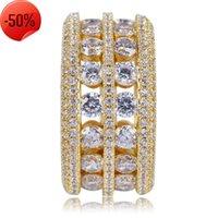 Exquisito 18k anillos de chapado de oro joyas para hombres mujeres de lujo bling zirocn cluster moda hip-hop hueco fuera círculo