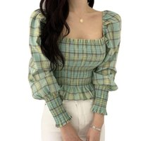 Women Blouses Shirts Plaid Square Neck Puff Sleeve Sexy Slim Long Chiffon Tops Blusas Mujer Women's &