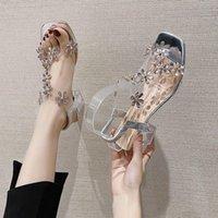 Sandals Fashion Womens Shoes 2021 Clear Heels Beige Heeled All-Match Luxury Comfort Black Block Rhinestone Summer High Plast