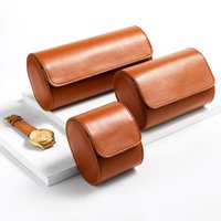 Watch Boxes & Cases PU Leather 3 Slots Box Portable Vintage Jewelry Roll Storage With Slid In Out Organizer Holder Men Women Gift