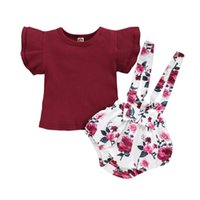 World Romper Toddler Baby Girl Summer Outfits Solid Short Sleeve Floarl Suspender Shorts Infant Clothes Clothing Sets