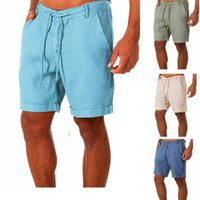 Men's Shorts Beach Summer Linen Casual Single Pants Pure Color Lace-up Quick-drying Basketball
