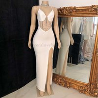 Designer White Spaghetti Straps Sexy Prom Dress Mermaid Side Slit Cocktail African Black Girls Short Evening Wear For Party Night